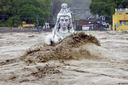 Siva idol in the floods